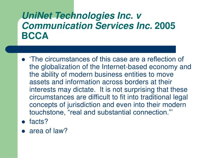 Uninet technologies inc v communication services inc 2005 bcca