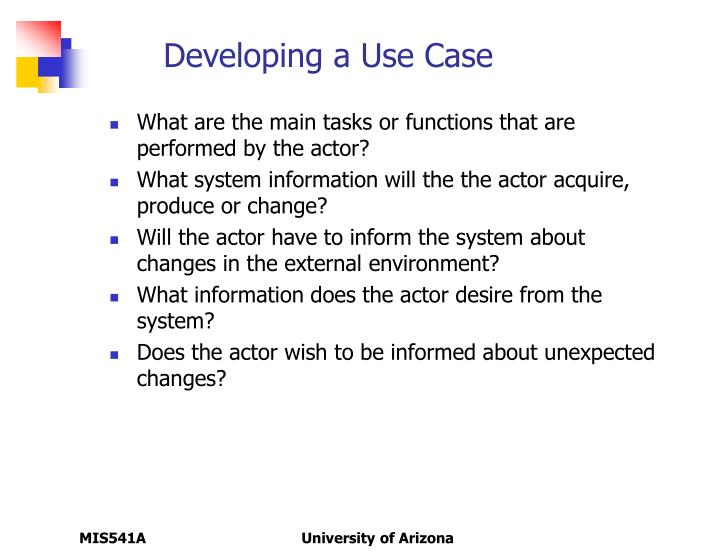 Developing a Use Case