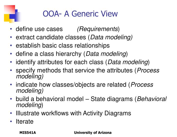 OOA- A Generic View