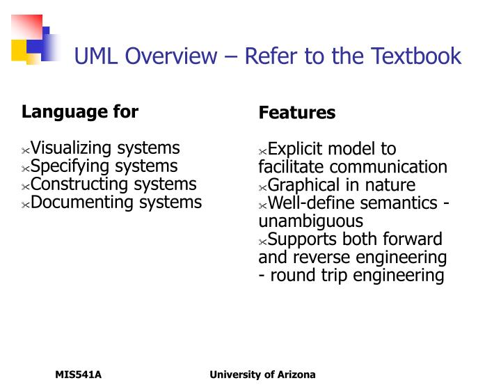 UML Overview – Refer to the Textbook