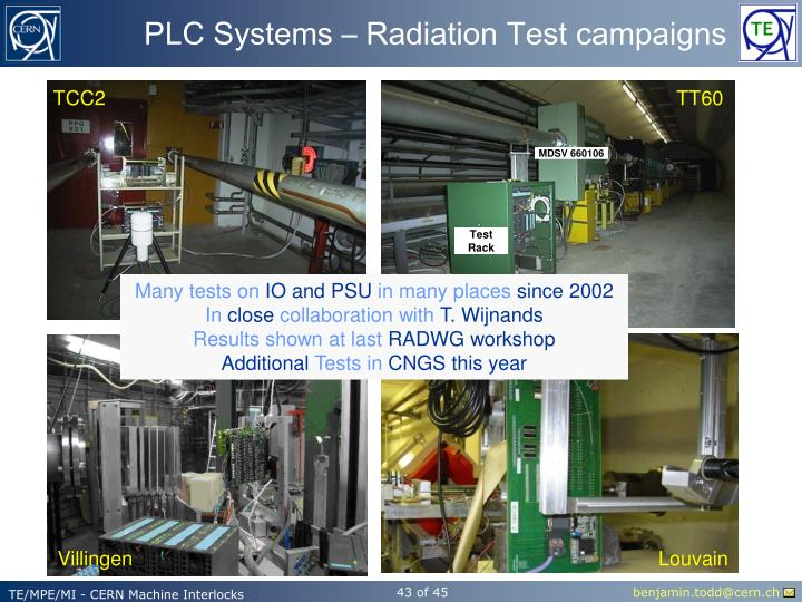PLC Systems – Radiation Test campaigns