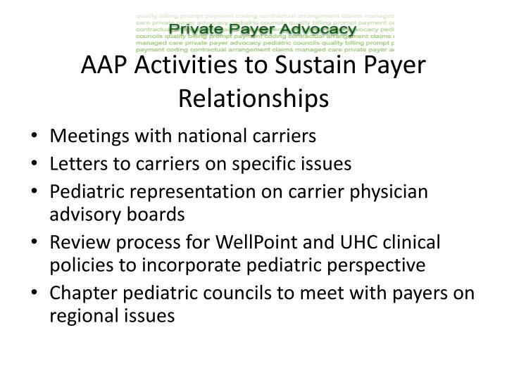 AAP Activities to Sustain Payer Relationships