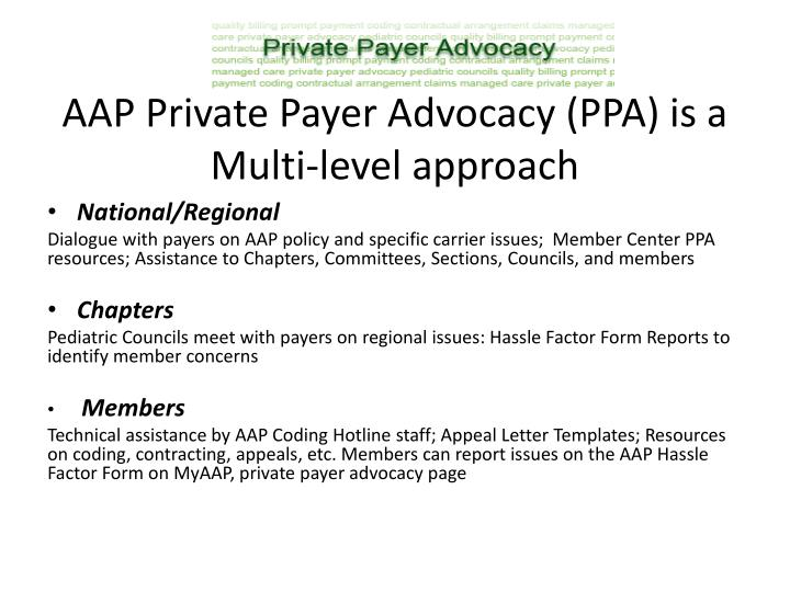 AAP Private Payer Advocacy (PPA) is a Multi-level approach