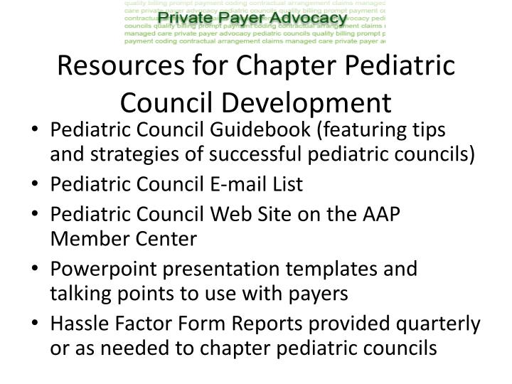 Resources for Chapter Pediatric Council Development