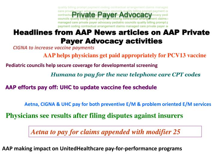 Headlines from AAP News articles on AAP Private Payer Advocacy activities