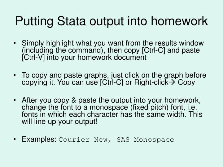 Putting Stata output into homework