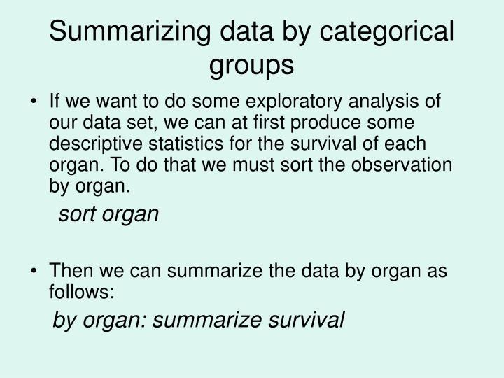 Summarizing data by categorical groups