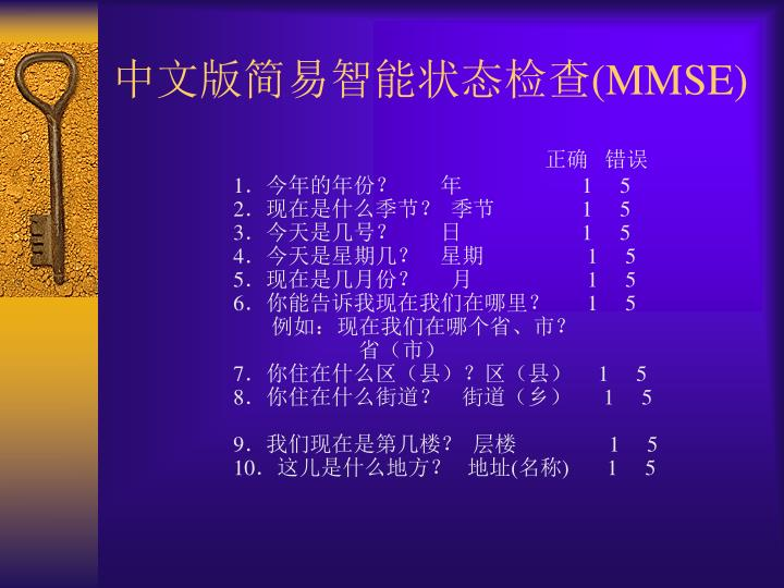 中文版简易智能状态检查