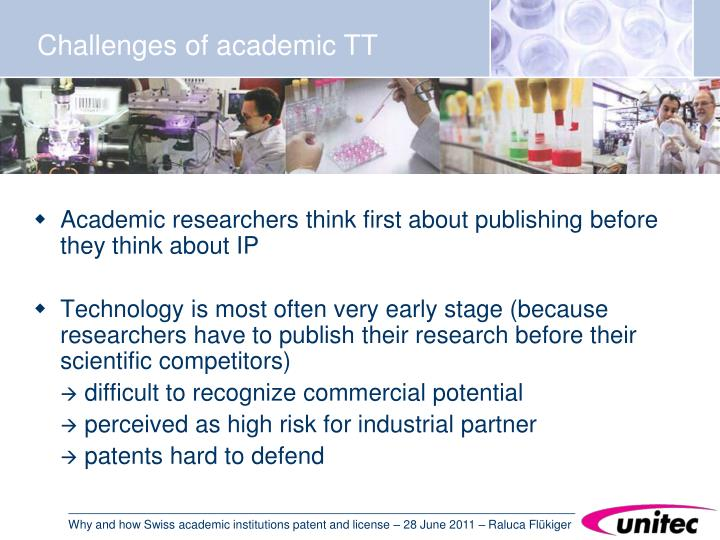 Challenges of academic TT
