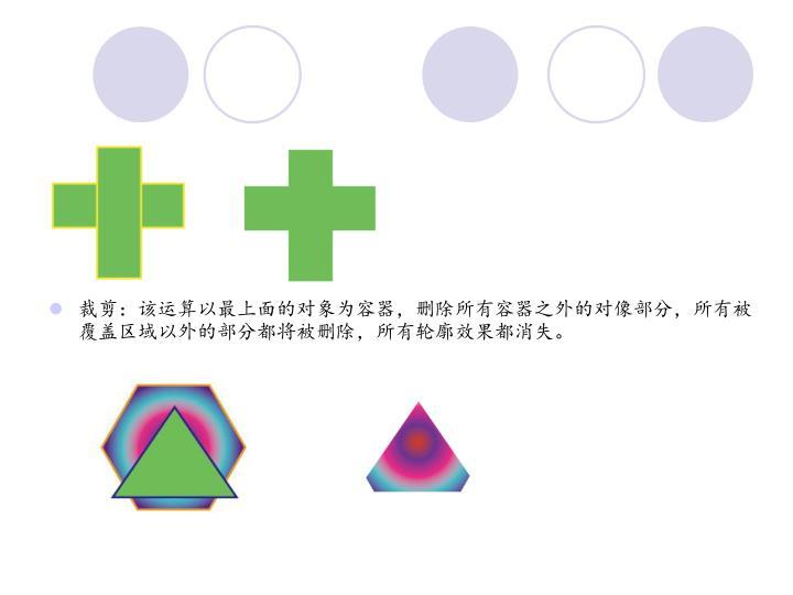 裁剪:该运算以最上面的对象为容器,删除所有容器之外的对像部分,所有被覆盖区域以外的部分都将被删除,所有轮廓效果都消失。