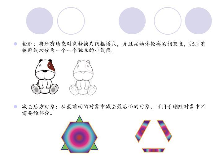 轮廓:将所有填充对象转换为线框模式,并且按物体轮廓的相交点,把所有轮廓线切分为一个一个独立的小线段。
