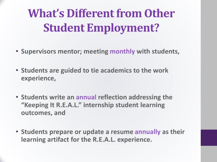 What's Different from Other Student Employment?