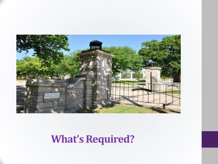 What's Required?