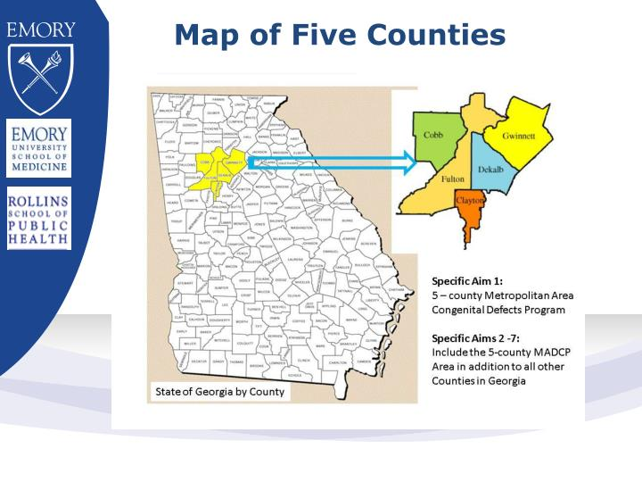 Map of five counties