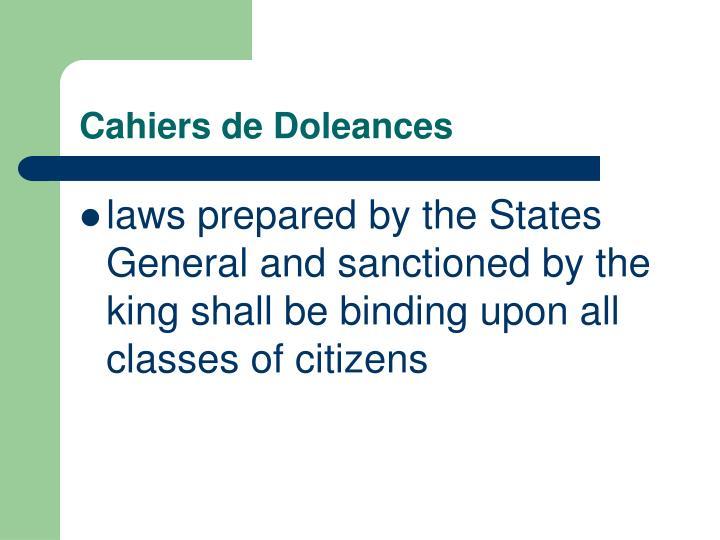 Cahiers de Doleances