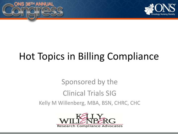 hot topics in billing compliance n.