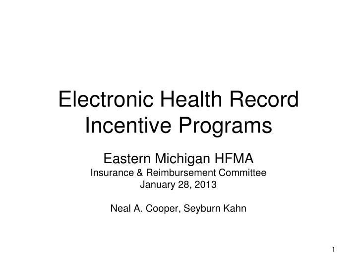 electronic health record incentive programs n.