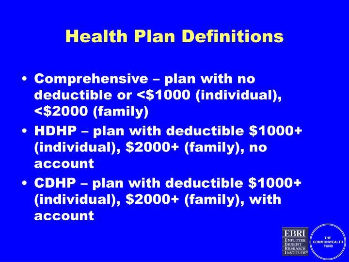 Health plan definitions