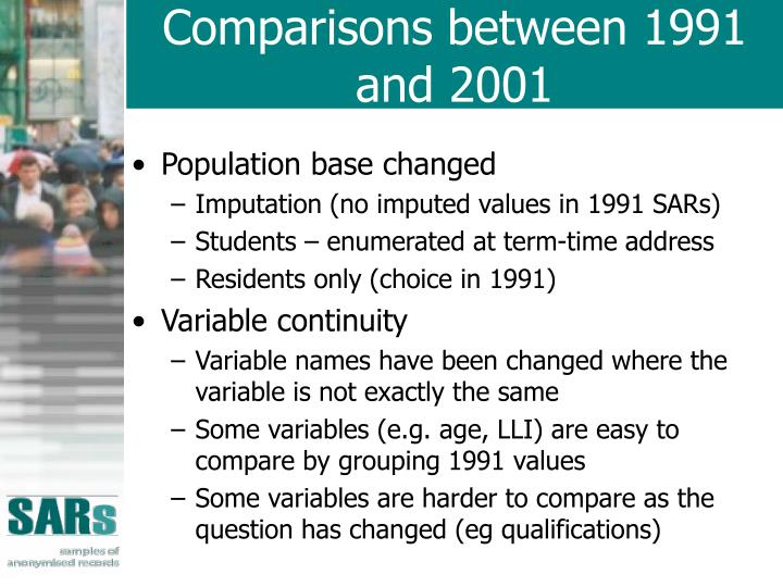Comparisons between 1991 and 2001