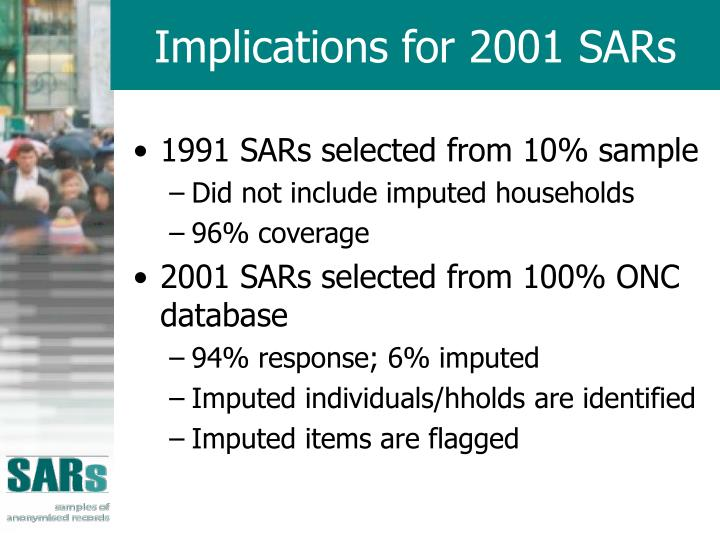 Implications for 2001 SARs