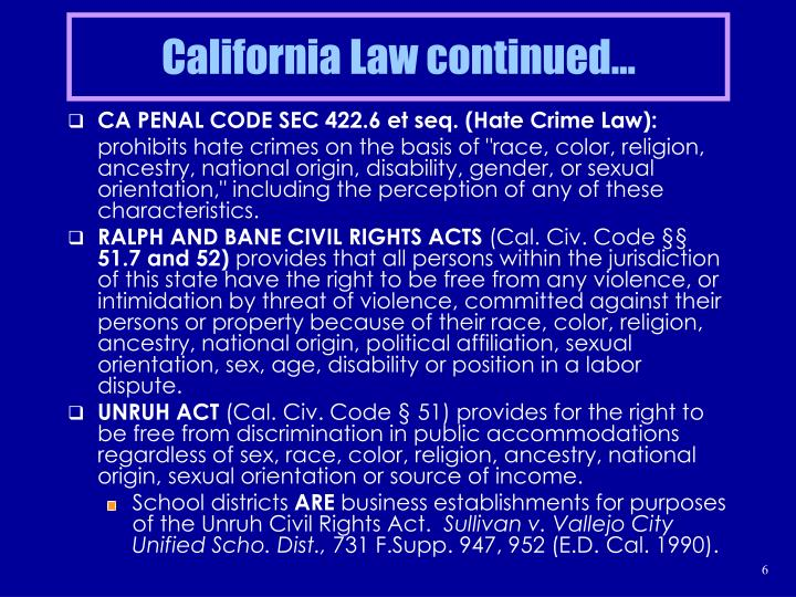 California Law continued…