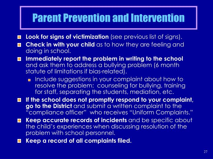 Parent Prevention and Intervention