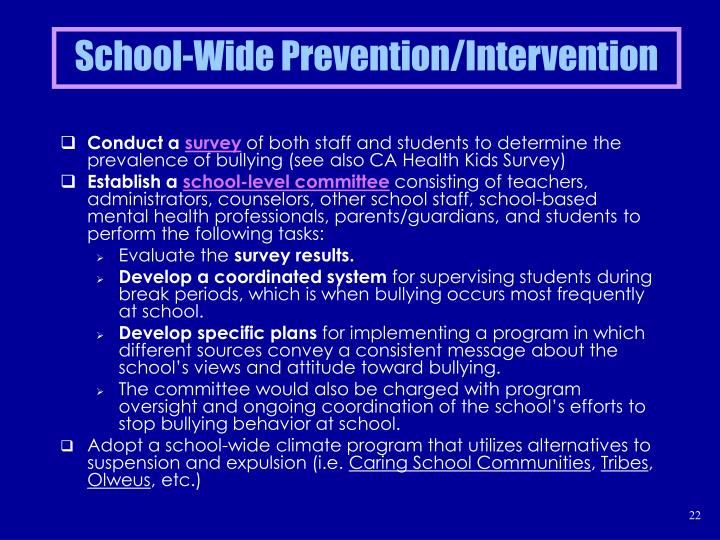 School-Wide Prevention/Intervention