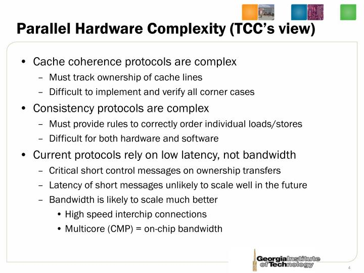 Parallel Hardware Complexity (TCC's view)