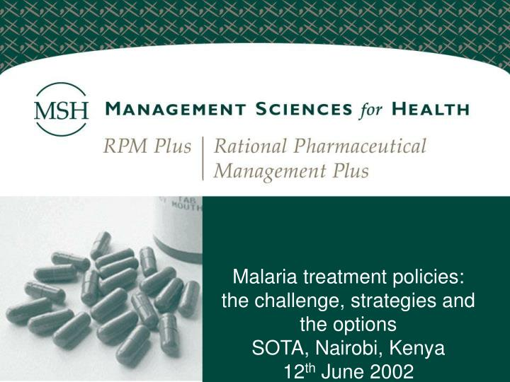 prevention and management strategies for malaria