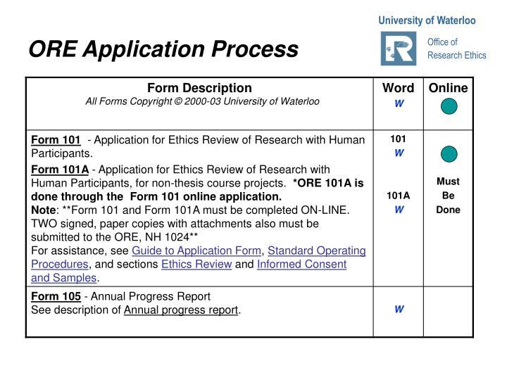 ORE Application Proce