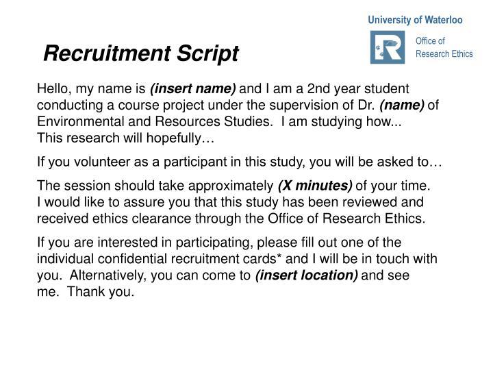 Recruitment Script