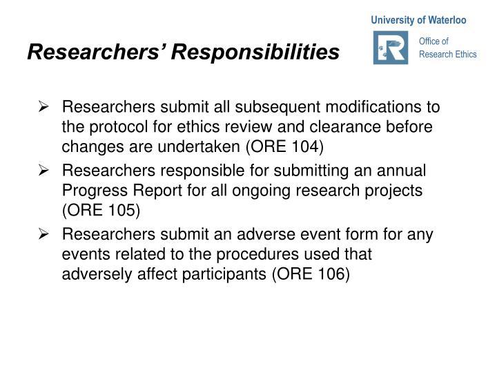 Researchers' Responsibilities