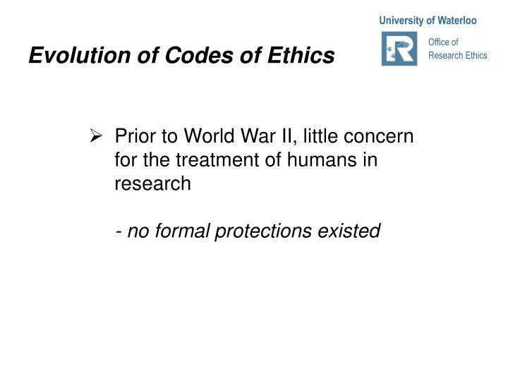Evolution of Codes of Ethics