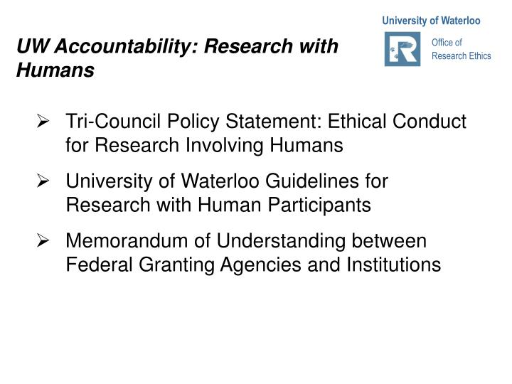 UW Accountability: Research with Humans