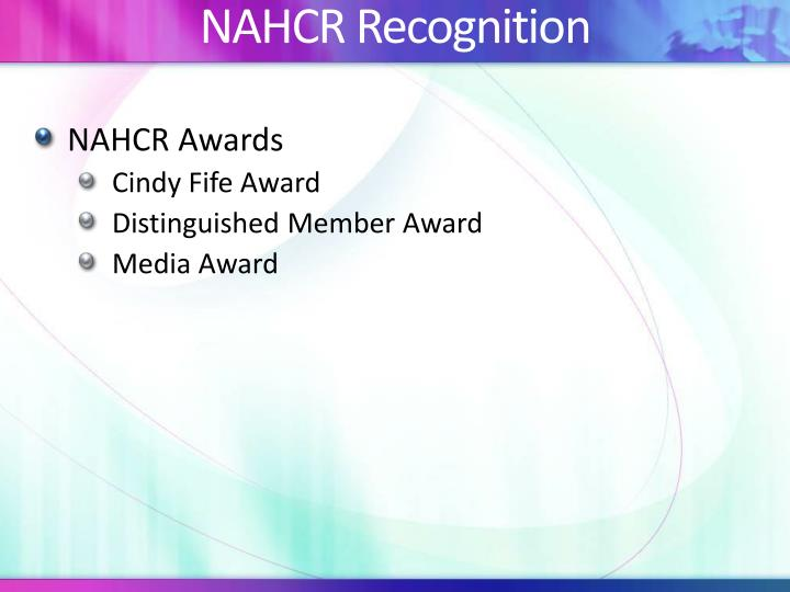 NAHCR Recognition