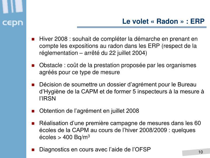 Le volet «Radon» : ERP