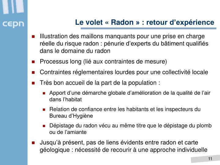 Le volet «Radon» : retour d'expérience