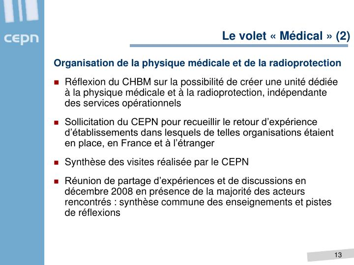 Le volet «Médical» (2)