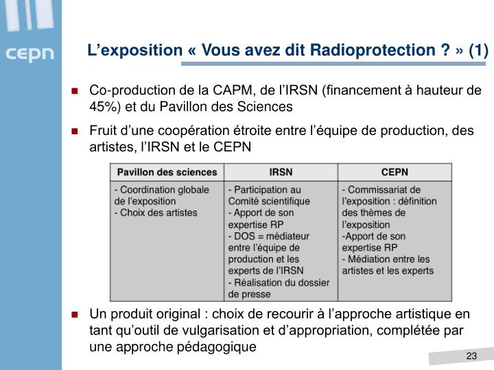L'exposition «Vous avez dit Radioprotection ?» (1)