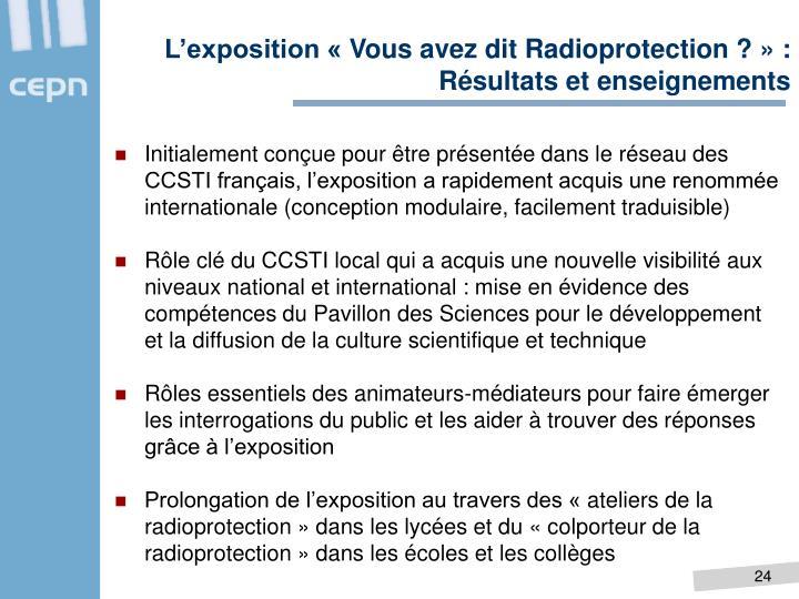 L'exposition «Vous avez dit Radioprotection ?» : Résultats et enseignements