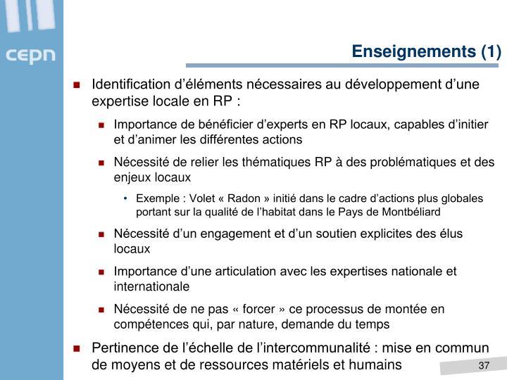 Enseignements (1)