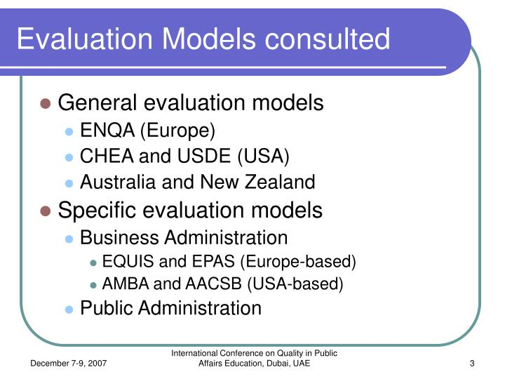 Evaluation models consulted
