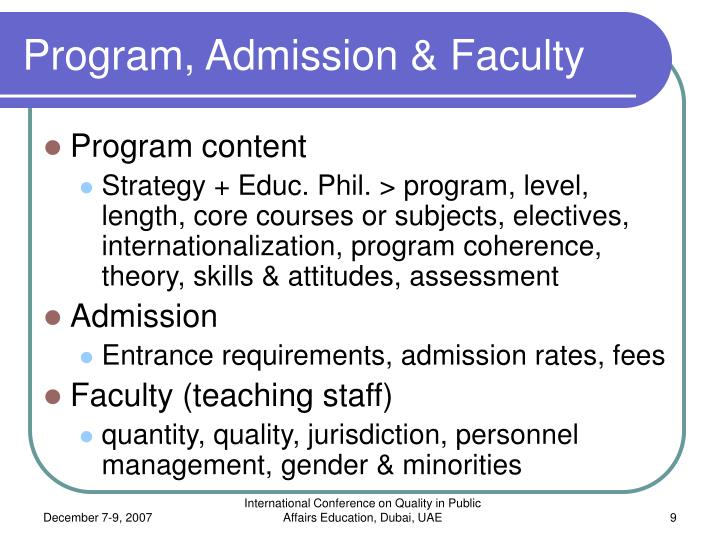 Program, Admission & Faculty