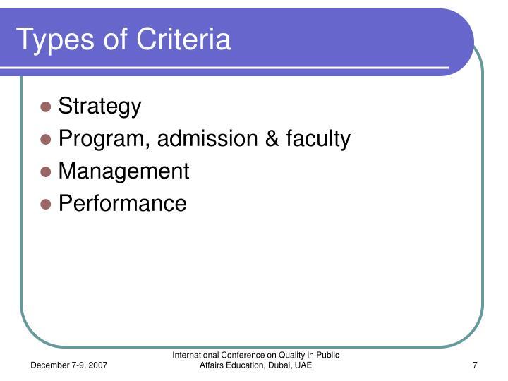 Types of Criteria