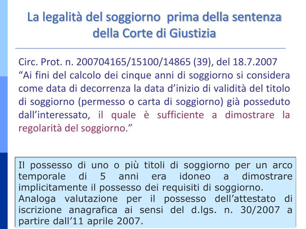 PPT - DIRITTO DI CIRCOLAZIONE E SOGGIORNO DEI CITTADINI ...