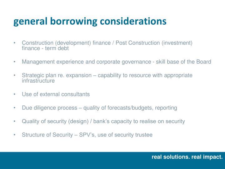 general borrowing considerations
