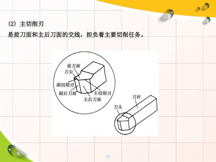 (2) 主切削刃