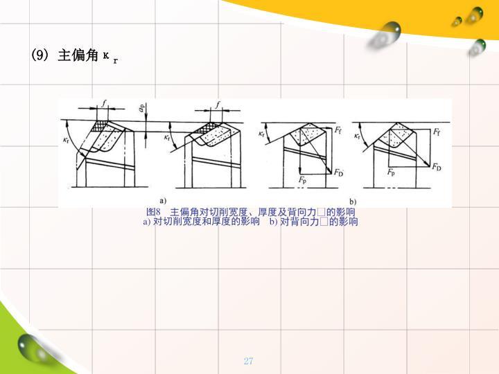 (9) 主偏角κ