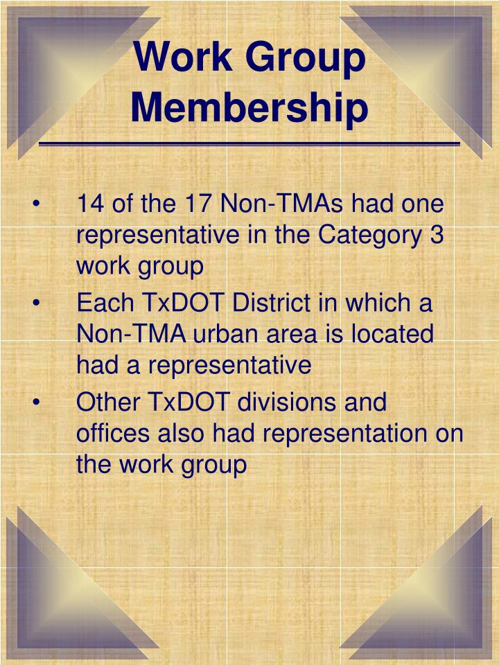 Work group membership