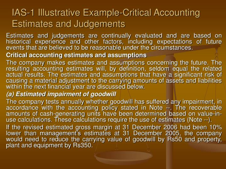 Ias 1 illustrative example critical accounting estimates and judgements